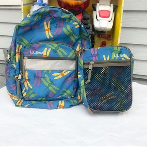 LL Bean Dragon Fly Backpack & Lunch Bag Matching